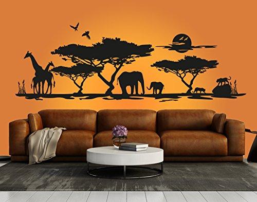 """Schönes Wandtattoo\""""Afrika Savanne 1\"""" in der Farbe Weiss und der Größe 180 x 58cm für Wohnzimmer Esszimmer Schlafzimmer Wandaufkleber Wandsticker Aufkleber"""