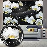 Photo papier peint orchidée blanc avec diamants, Décoration murale, Fleurs modernes orchidées, Bourgeon Phalaenopsis orchidée sauvage | murale photo mur deco chez GREAT ART (210 x 140 cm)