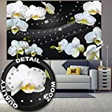 great-art Fototapete Weiße Orchidee mit Diamanten - 210 x 140 cm 5-teiliges Wandbild Tapete Wandtapete