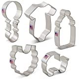 Baby Shower Cookie Cutter Set - 5 Piece - Onesie, Bib, Rattle, Bottle, and Baby Carriage - Ann Clark Cookie Cutters - US Tin Plated Steel at amazon