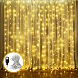 LED Lichtervorhang, ECOWHO Warmweiß 300 LED Lichterkette Innen, 8 Modi IP44 Wasserdicht Lichterkettevorhang für Weihnachten, Halloween,Hochzeit, Party, Schlafzimmer, Haus Deko(3x2.5M)