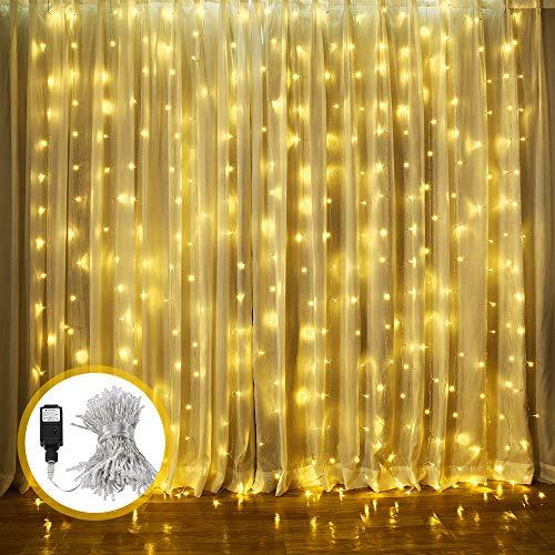 ECOWHO Warmweiß 300 LED Lichterkette Innen, 8 Modi IP44 Wasserdicht Lichterkettevorhang für Weihnachten, Halloween,Hochzeit, Party, Schlafzimmer, Haus Deko(3x2.5M) ()