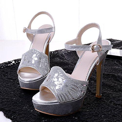 YE Damen Peep Toe High Heels Sandalen Plateau Glitzer mit Riemchen und Strass Stiletto Pumps Party Hochzeit Braut Elegant Schuhe Silber