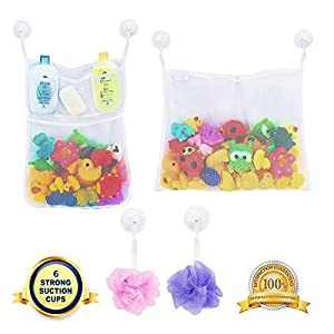 LEEFE 2 x Mesh Bath Toy Storage with 5 Pockets - The Perfect Net for Bathtub Toys & Bathroom Organizer - For Kids, Toddlers & Baby and Shower Caddy, Bonus of 6 Super Strong Suction Cups