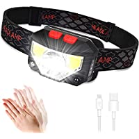 Anecity LED Head Torch, USB Rechargeable Headlamp Headlight, Super Bright 800 Lumens COB LED Headtorch, 70g, Motion Sensor Head Lamp with IPX45 Waterproof for Running, Camping, Hiking, Climbing, Kids