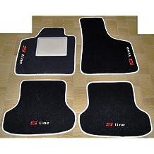 Alfombras para coche de color negro con borde y talonera beige, para Audi A38P 8PA S Line de 2003a 2012 - juego completo de alfombras de moqueta a medida con bordado de hilo Bianco
