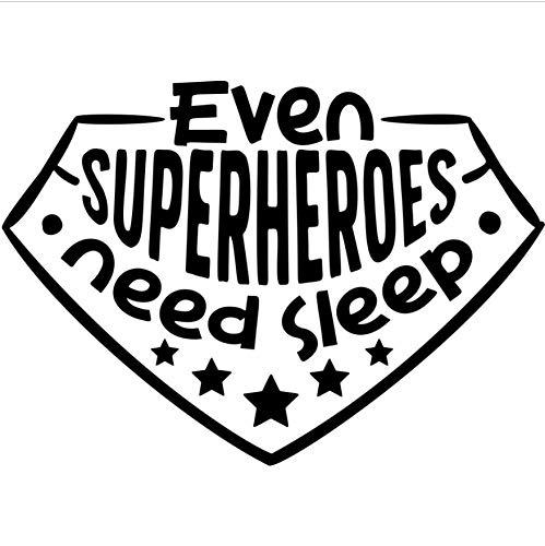 (80X57cm Kinderzimmer Wandtattoo Auch Superhelden brauchen Schlaf Zitat Wandaufkleber Kindergarten Jungen Zimmer Abnehmbare Superheld Wandbild)