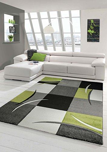 Designer Teppich Moderner Teppich Wohnzimmer Teppich Kurzflor Teppich mit Konturenschnitt Karo Muster Grün Grau Creme Schwarz Größe 60x110 cm