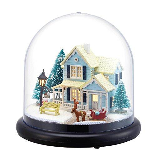 DIY-Set Miniatur-Puppenhaus mit transparenter Kuppel, Holz, Modell einer Schneehütte mit Puppen, Kunststoff, LED-Licht / Spieluhr