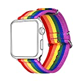 LGBT Nylon Band for Apple Watch, Bandmax Comfortable Wristband Woven Nylon Durable Replacement Strap for iWatch Series 3/2/1 42MM All Models Valentine