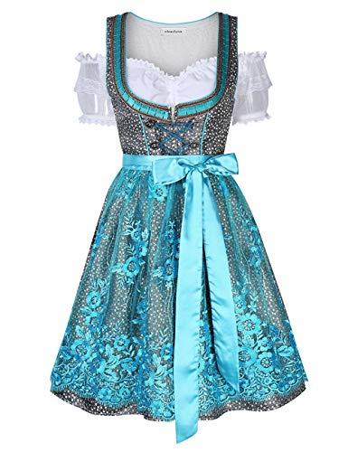 Clearlove Dirndl 3 tlg.Damen Midi Trachtenkleid für Oktoberfest- Spitzen Kleid, Bluse & Schürze- Gr. 36, Blau Spitzen