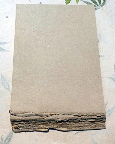 paperfreak: Hanfpapier 1seitiger Büttenrand schwere Qualität '100gr`Schreibpapier Briefpapier handgeschöpft A4 40 Bogen Bund - hemp paper