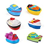 Floating Boat Party Toy Rubber Water Bath Squirties for Baby (Set of 6)