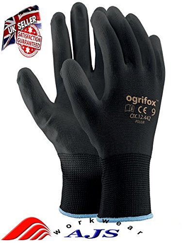 24pares de guantes de trabajo negros, forrados. Guantes de seguridad, para el trabajo, construcción, jardinería. 9(G)