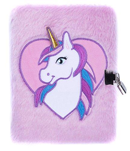 Diario con Lucchetto FRINGOO per bambini bambine Quaderno A5 Diario 3D con lucchetto, unicorno design con animali 80 pagine