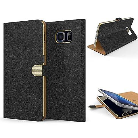URCOVER Coque Portefeuille Housse Pochette Glittery Diamant pour Samsung Galaxy S6   Wallet Case Étui a Rabat avec Strass Scintillantes et Pailletté en Noir