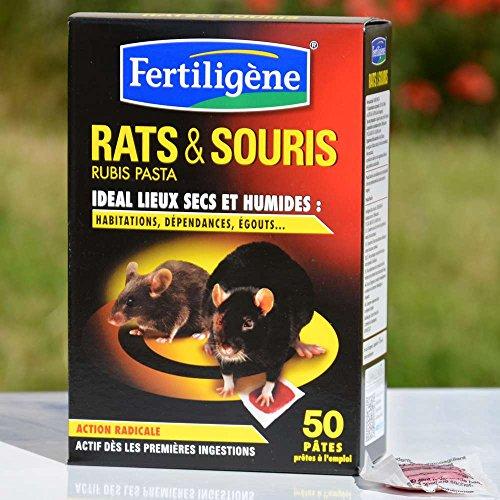 Fertiligène - Raticide Souricide 50 pâtes prêtes à l'emploi