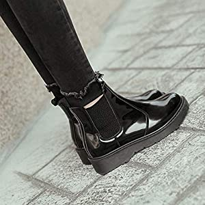 Top Shishang Herbst und Winter Lackleder Chelsea Stiefeletten Leder wies Martin Stiefel Damen und Stiefeletten westlichen Stiefeletten