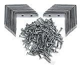 30 St. Winkelset 50mm x 50mm mit Schrauben Metallwinkel Winkelklammer Stahlwinkel 90 Grad Innenwinkel verzinkt Montagewinkel L-Form Lochplattenwinkel Möbelwinkel Eckwinkel Wandhalter