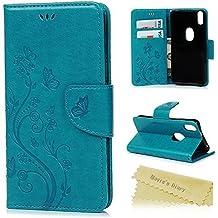 Funda BQ Aquaris X5 Plus, Libro de Cuero Impresión Con Tapa y Cartera, Correa de mano - Mavis's Diary Carcasa PU Leather Case, Soporte Plegable y Billetera, Cierre Magnético - Azul