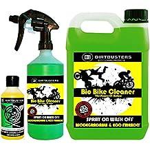 Dirtbusters Bio Bike Cleaner Set de limpiador ecológico para motos y bicicletas, incluye limpiador en spray de 1 litro, bidón de 5 litros de limpiador para rellenar y desengrasante para cadenas de 250 ml