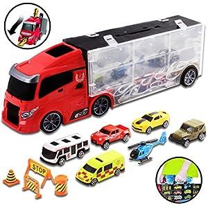 camiones: deAO Camión Transportador Maletín Portacoches Conjunto Playset Incluye Surtido T...