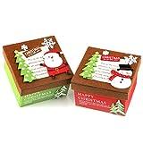 Mopec Cajas navideñas cuadradas de Fieltro con Tapa, Rojo y Verde, 13x13x8 cm, 2 Unidades