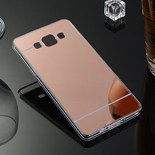 Sycode Moda Specchio Riflessione Morbida Bumper Ultra Sottile TPU Custodia Copertura Mirror Caso per Samsung Galaxy A5 2015-Oro Rosa