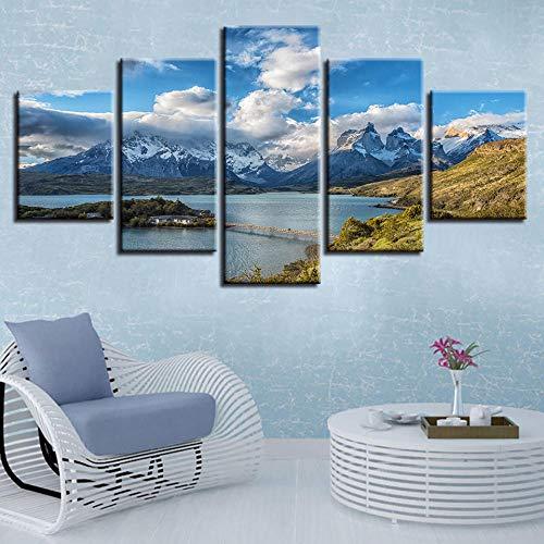 Sanzx Modulares Leinwandbild, 5 Teile, Berge und Flüsse, Torres del Paine Nationalpark, 30 x 40 x 2, 30 x 60 x 2, 30 x 80 cm
