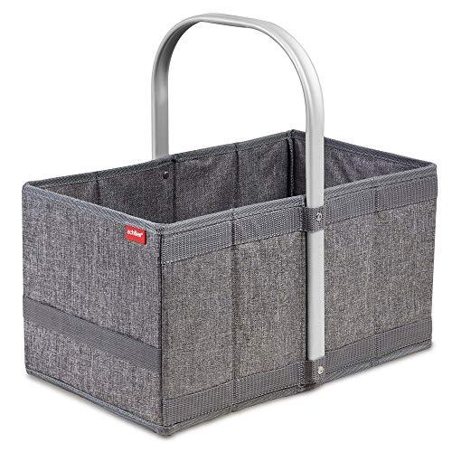 achilles Handle-Box Einkaufs-Korb mit Aluminium Griff Faltbarer Shopper Falt-Tasche Picknick-Korb Klapp-Box Trage-Korb Grau 40 cm x 24 cm x 20 cm