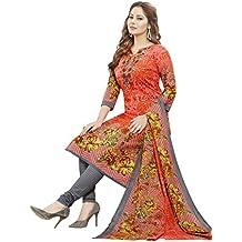 Ishin Cotton Peach & Grey Printed Party Wear Casual daily Wear Festive Wear Unstitched Salwar Suit Dress Material (Anarkali/Patiyala) With Dupatta