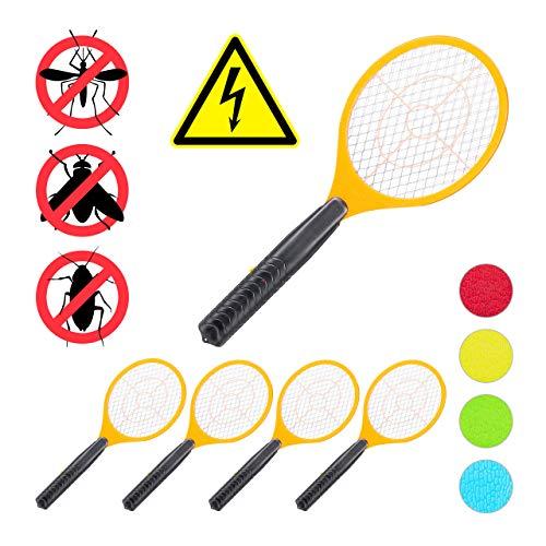 Relaxdays 5 x elektrische Fliegenklatsche, ohne Chemie, Fliegentöter, gegen Fliegen, Mücken & Moskitos, Fly Swatter, orange