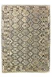 CarpetFine: Kelim Afghan Teppich 206x292 Grau - Geometrisch