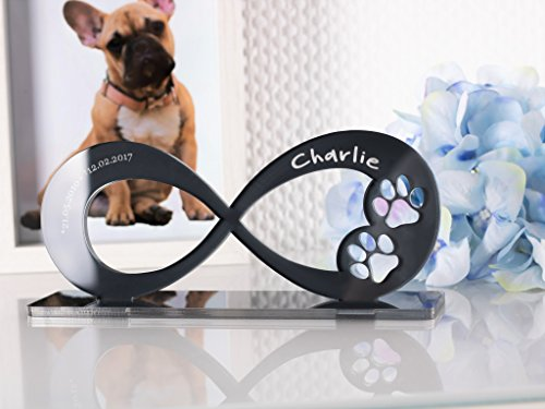 CHRISCK design Gedenkstandbild Gedenktafel mit Gravur Infinity-Form Grabstein Grabplatte Hundepfote für Hunde