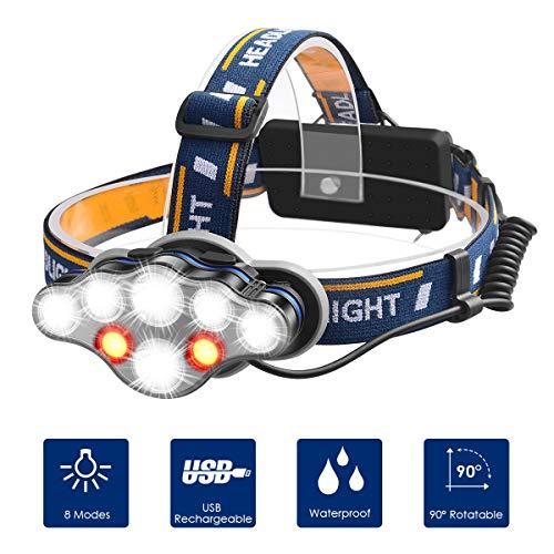 LED Kopflampe Stirnlampe, Myguru Kopfleuchte USB Wiederaufladbarere Stirnlampen Sport Scheinwerfer 8 Modi Beleuchtung 13000 Lumen Stoßfester zum Wandern Laufen Angeln Camping Klettern