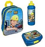 3D Rucksack Set Bob der Baumeister 3tlg. mit Brotdose und Trinkflasche z.B. für den Kindergarten / Krippe Bagger BODP7622