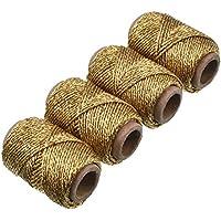4 Piezas de Cordel de Panaderos Dorado Metálico, 87,5 Yardas en Total, Cuerda Decorativa Oro Cobre Cordel de Arte Dorado para Manualidades y Embalaje de Regalo