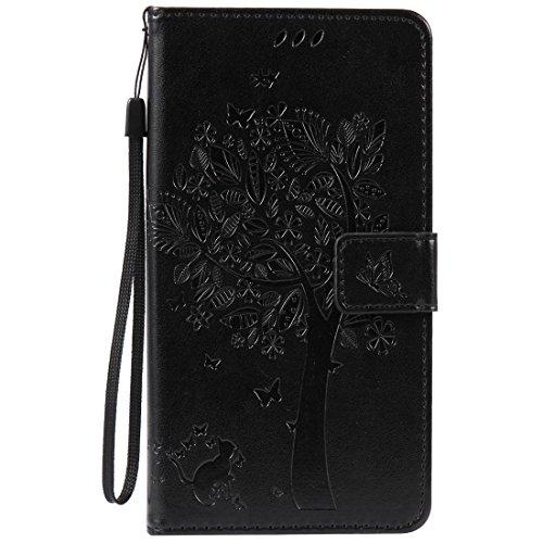 HTC Desire 825 Hülle, Chreey Prägung [Katze Baum] Muster PU Leder Hülle Flip Case Wallet Cover mit Kartenschlitz Handyhülle Etui Schutztasche [Schwarz]