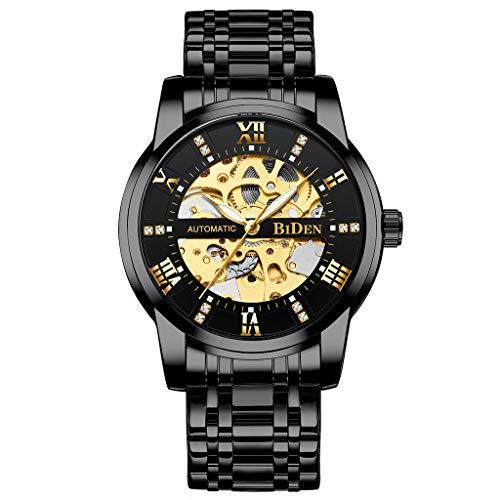 Huacat Herrenuh Edelstahl mechanische Uhr der Art und Weisehohlgangmänner römische Skala Gürtelbohrer Wählen Sie Stahlband Herrenuhr