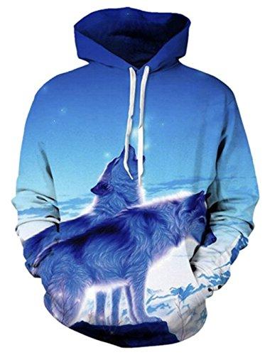 Leapparel Herren Kapuzensweatshirt Hoodies Men 3D Grafik Wolf All-Over Print Pullover mit Tunnelzug und Große Kängurutasche und Fleece-Innenfutter