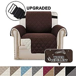 Wendbare Stuhlabdeckung für Hunde Pet Abdeckung für Stuhl/Stuhl Schonbezug/Stuhlschutz, Maschinenwaschbar, Double Diamond Quilted (1 Sitzer: Braun/Beige)