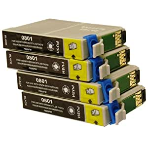 4 Black CiberDirect Compatible Ink Cartridges for use with Epson Stylus Photo PX730WD Printers.