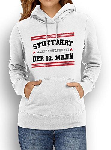 Shirt Happenz Stuttgart #1 Premium Hoodie Fussball Fan-Trikot #jeden-verdammten-Samstag Frauen Kapuzenpullover, Farbe:Weiß;Größe:XXL (Spaß Training Kleidung Frauen)