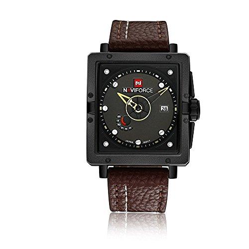 vear da uomo analogico automatico data calendario cinturino in pelle al quarzo sport drvear Watch (Rolex Omega Orologi Omega Watch)