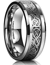 Yellow Chimes Dragon Silver Celtic Inlay Polish Finish Stainless Steel Ring for Men & Boys