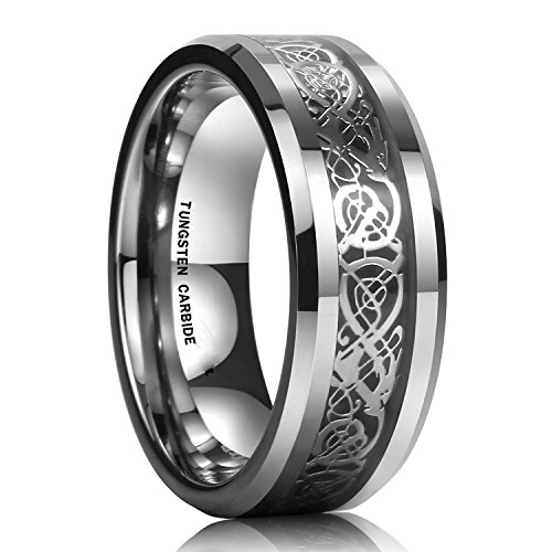 Yellow Chimes Dragon Celtic Stainless Steel Ring f...