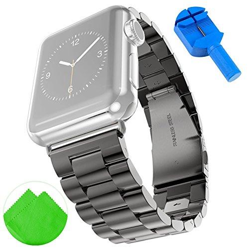 first2savvv-nero-cinturino-apple-watch-apple-watch-band-strap-cinturino-orologio-in-acciaio-inossida
