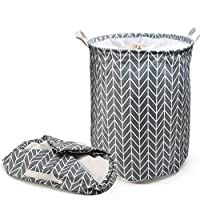 LEADSTAR Large Laundry Baskets, Thickened Fabric Laundry Hampers Drawstring Basket, Laundry Sundries Basket with Handle Waterproof Cotton Collapsible Storage Basket (Grey)