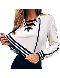 Oeak Damen Streifen Pullover V-Ausschnitt Langarmshirt Bandage Sweatshirt  Kurz Tops Casual Oberteile mit… ffceba7f83