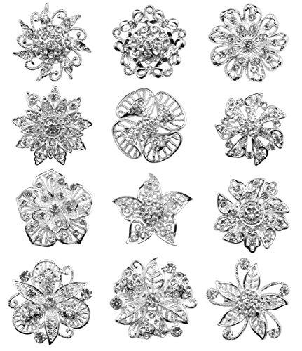 keland 12-teiliges Set Mix Kristall Brosche Schal Schnalle Blumen Brosche Strass Bouquet Set Großhandel (Silver) (Strass Kristall Brosche)